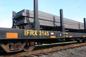 Steel bars transported by rail